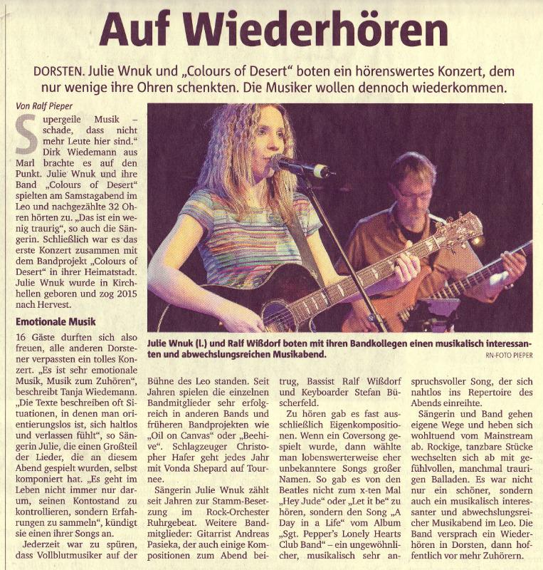 Zeitungsbericht rock Band Dorsten NRW